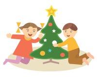 儿童christmass结构树 皇族释放例证