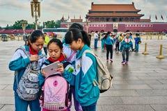 儿童ipad天安门广场北京中国 库存照片