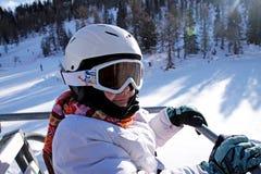 儿童portait滑雪 免版税库存图片