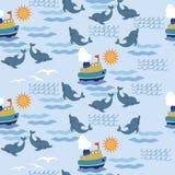儿童seampless模式的海运 免版税库存照片