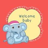 婴儿送礼会与玩具大象的庆祝卡片 向量例证