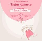 婴儿送礼会卡片-婴孩兔宝宝 免版税图库摄影