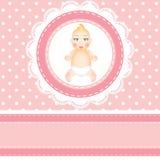 婴儿送礼会卡片 免版税库存图片