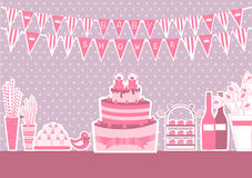 婴儿送礼会和甜点在桌上 皇族释放例证