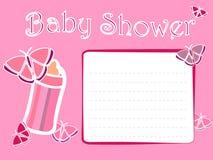 婴儿送礼会女孩邀请卡片 免版税库存照片