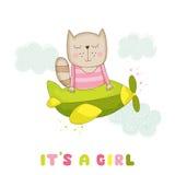 婴儿送礼会或更改地址通知单-女婴在飞机上的猫飞行 免版税库存图片