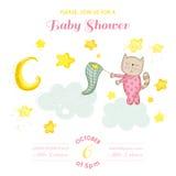 婴儿送礼会或更改地址通知单-小猫女孩传染性的星 免版税库存照片