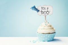婴儿送礼会杯形蛋糕 免版税库存图片