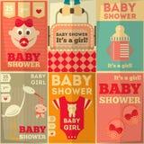 婴儿送礼会海报 库存图片