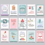 婴儿送礼会男孩的卡集女孩它生日快乐的党的它的男孩女孩庆祝问候或邀请卡片海报 免版税库存照片