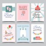 婴儿送礼会男孩的卡集女孩它生日快乐的党的它的男孩女孩邀请卡片海报传染媒介 图库摄影
