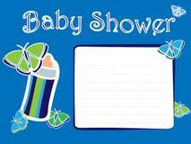 婴儿送礼会男孩邀请卡片 免版税库存图片