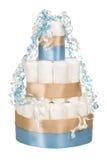婴儿送礼会的尿布蛋糕 库存图片