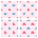 婴儿送礼会相关样式 鸟,鸭子 免版税库存图片