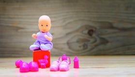 婴儿送礼会背景-它是女孩 库存照片
