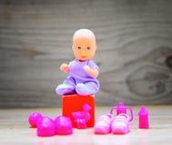 婴儿送礼会背景-它是女孩 免版税库存图片