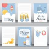 婴儿送礼会邀请卡片,传染媒介 库存例证