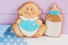 婴儿送礼会结冰曲奇饼 免版税库存图片