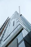 允许区混和的楼房建筑设计要素故意退了色高层左轻地冠上整齐下面的其他照片文本 免版税图库摄影