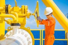 允许气体的生产操作员开放阀门流动到被送的气体和原油的水平线管子到中央处理平台 免版税库存照片