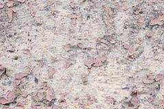 元素变粉红色与镇压的油漆涂层在一块肮脏的灰色石头 剥桃红色油漆难看的东西 图库摄影