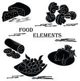 元素食物艺术 传染媒介黑白图画 图库摄影