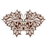 元素绘了与无刺指甲花的蝴蝶 免版税库存照片