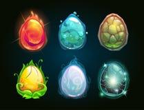 元素象,被设置的龙鸡蛋 库存例证