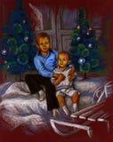 兄弟和圣诞树 库存照片