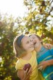 兄弟和姐妹在果树园 免版税库存照片
