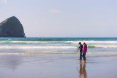 兄弟和姐妹寻找在海滩的海洋生活 库存图片