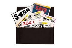 充分一个黑褐色布料钱包赠券 免版税图库摄影