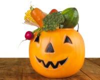 充分万圣夜健康塑料南瓜菜 免版税库存图片