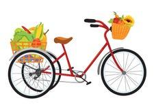 充分农夫自行车水果和蔬菜 免版税库存照片