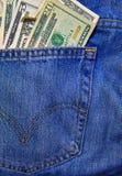 充分后面牛仔裤口袋的现金 库存照片