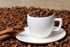 充分咖啡杯咖啡豆和肉桂条 免版税库存照片