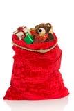 充分圣诞节大袋玩具 免版税库存照片