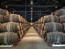 充分地窖口岸酒桶,盖亚,葡萄牙 库存图片