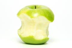 充分地被吃的绿色苹果 库存图片