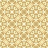 充分地被填装的横渡的花n瓣设计在褐色金子和白色颜色的无缝的样式背景例证 库存图片