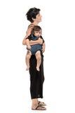 充分婴孩她的长度纵向妇女 库存照片
