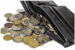 充分新的钱包在白色背景的欧洲硬币 库存照片