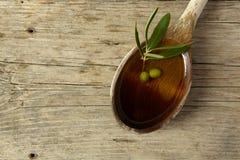 充分橄榄树枝和匙子油 库存图片