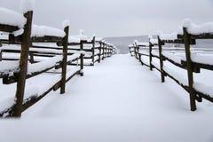 充分没有马农村场面的被填装的多雪的冬天大农场 库存照片