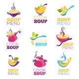充分烹调汤,碗传染媒介汇集鲜美汤 向量例证