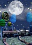 充分特写镜头黑暗的童话场面充分桌糖果和蘑菇 库存图片
