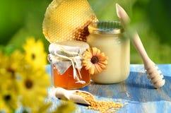 充分瓶子可口蜂蜜、蜂窝和蜂花粉 免版税库存照片
