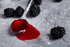 充分生来有福的宏观图片水多的糖浆用一些个黑莓 在灰色背景的夏天莓果 库存照片