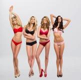 充分的成长姿势的美丽的妇女 免版税图库摄影