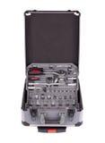 充分的手提箱用工具加工多种 免版税图库摄影